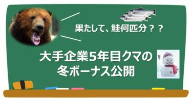 【2020年冬ボーナス】大手企業5年目クマの冬ボーナス公開!【鮭何匹分?】