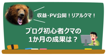 【収益・PV数公開】ブログ初心者クマの1か月の成果は?