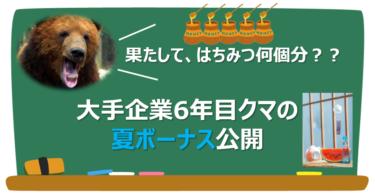 【2021年夏】大手企業6年目クマの夏ボーナス公開!【はちみつ何個分?】