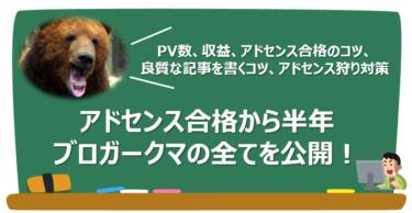 【収益・PV数・ノウハウ公開】Googleアドセンス合格から半年、🔰ブロガークマ🐻の成果は?