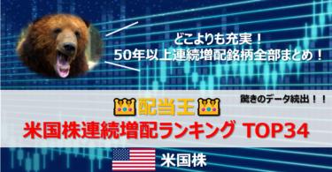 【👑配当王】米国株連続増配ランキングTOP34【連続増配ポートフォリオ】